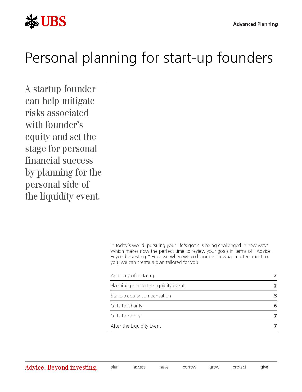 Personal Planning <br> for Start-Up <br> Founders