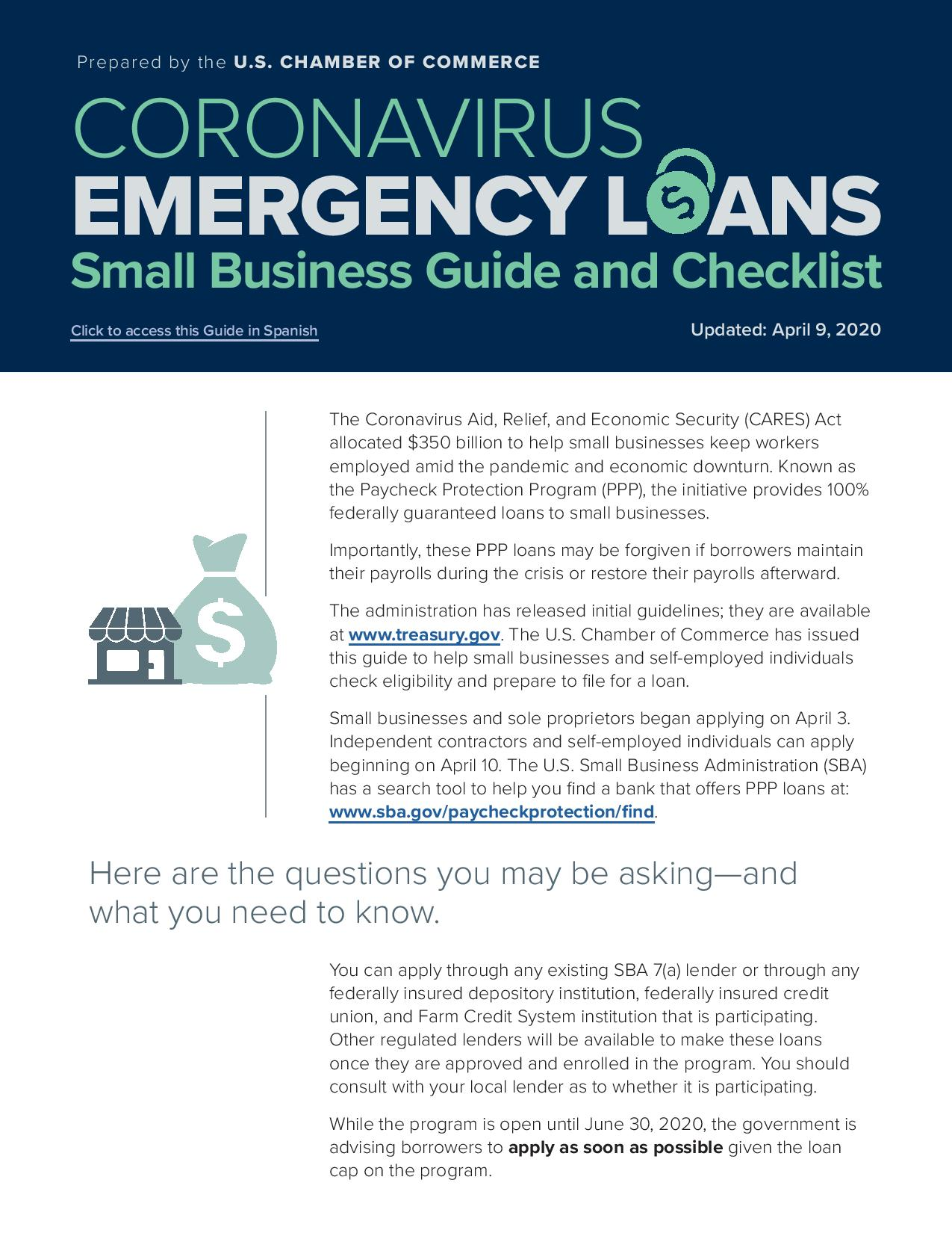 Emergency Loans: Small<br>Business Guide