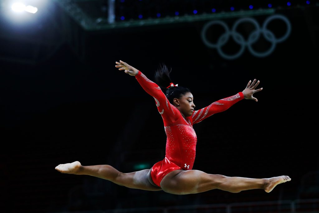 Simone Biles competing in the 2016 Rio Summer Olympics
