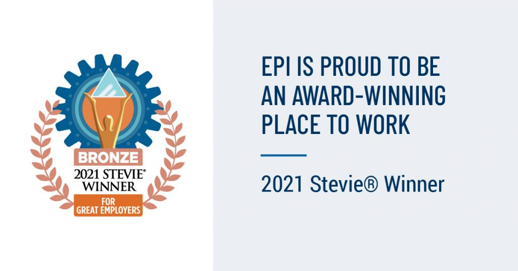"""Image of Stevie Award logo with text: """"EPI is proud to be an award-winning place to work  2021 Stevie Winner"""""""